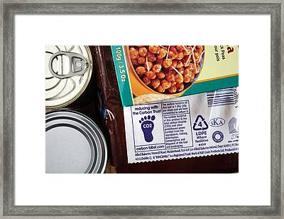 Carbon Footprint Labelling Framed Print by Science Photo Library