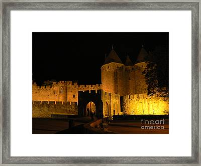 Carcassonne At Night Framed Print