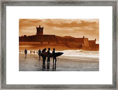 Carcavelos Surfers Framed Print