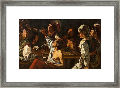 Card And Backgammon Players. Fight Over Cards Framed Print