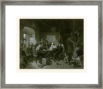 Card Game, Germany, Everyday Life, Interior, Figures, Men Framed Print