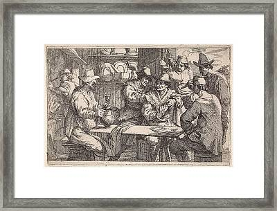 Card Players In Tavern, Jan Baptist De Wael Framed Print