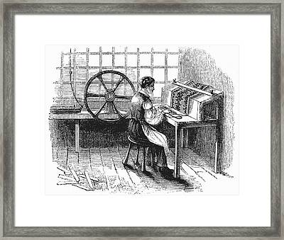 Card Punching Machine For Jacquard Looms Framed Print