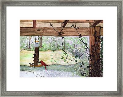Framed Print featuring the painting Cardinal-back Porch Picnic by June Holwell
