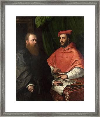 Cardinal Ippolito De' Medici And Monsignor Mario Bracci Framed Print by Girolamo da Carpi