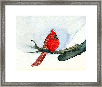 Framed Print featuring the painting Cardinal by Katherine Miller