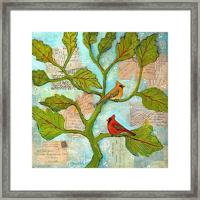 Cardinal Love Notes Framed Print by Blenda Studio