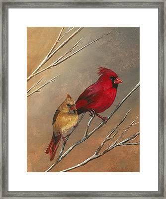 Cardinal Mates Framed Print by Terri  Meyer