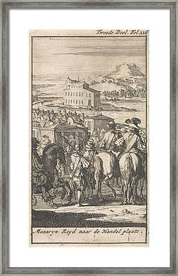 Cardinal Mazarin In A Carriage On The Way To Pheasant Island Framed Print by Caspar Luyken And Boudewijn Van Der Aa
