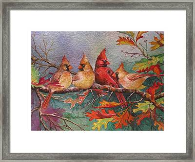 Cardinal Musings Framed Print by Cheryl Borchert