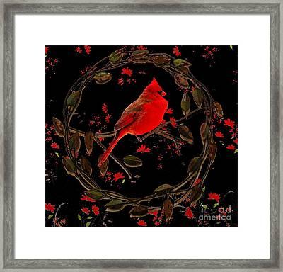 Cardinal On Metal Wreath Framed Print by Janette Boyd
