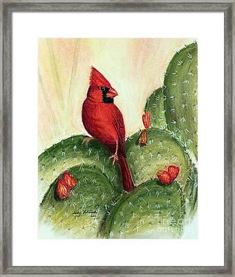 Cardinal On Prickly Pear Cactus Framed Print