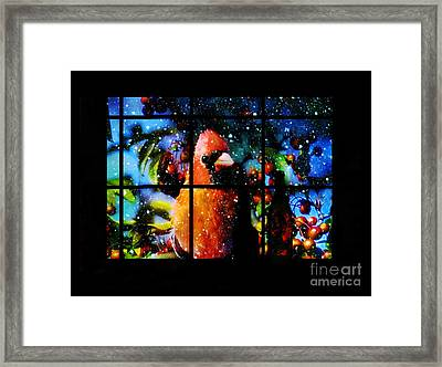 Cardinal Outside Looking In Framed Print by Elaine Manley