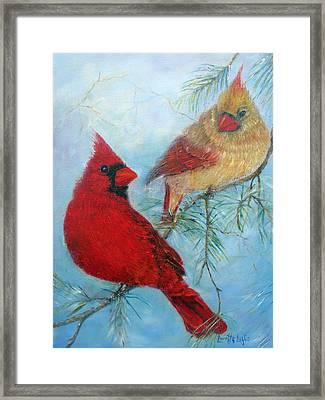 Cardinal Pair Framed Print by Loretta Luglio