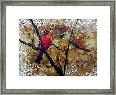 Framed Print featuring the painting Cardinal Redbird Couple by Christy  Freeman