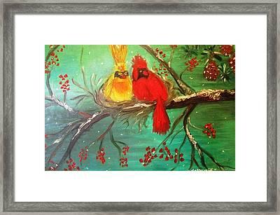 Cardinals Winter Scene Framed Print