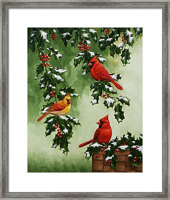 Cardinals And Holly - Version With Snow Framed Print by Crista Forest