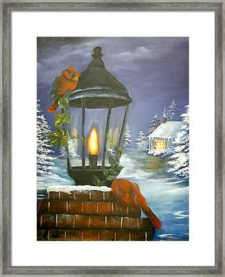 Cardinals At The Lamplight Framed Print
