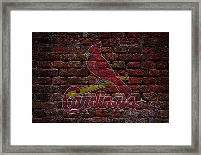Cardinals Baseball Graffiti On Brick  Framed Print