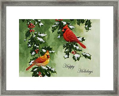 Cardinals Holiday Card - Version With Snow Framed Print by Crista Forest