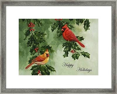 Cardinals Holiday Card - Version Without Snow Framed Print by Crista Forest