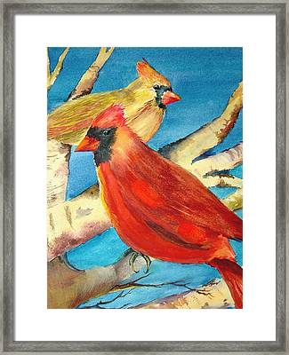 Cardinals In The Old Apple Tree Framed Print by Marsha Woods