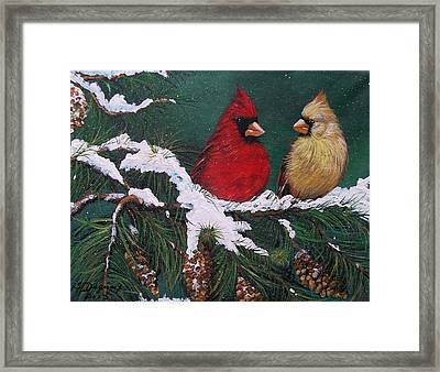 Cardinals In The Snow Framed Print