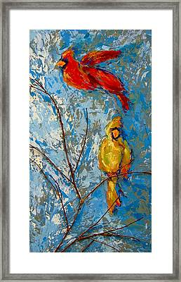 Cardinals On Twig Framed Print by Kat Griffin