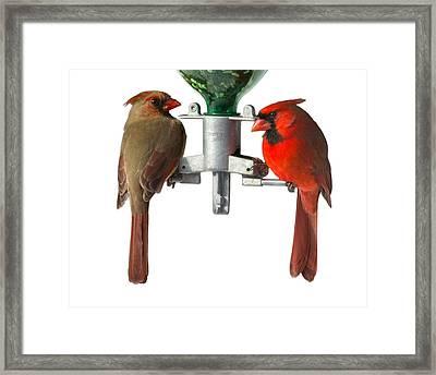 Cardinals On White Framed Print by John Kunze