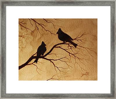 Framed Print featuring the painting Cardinals Silhouettes Coffee Painting by Georgeta  Blanaru