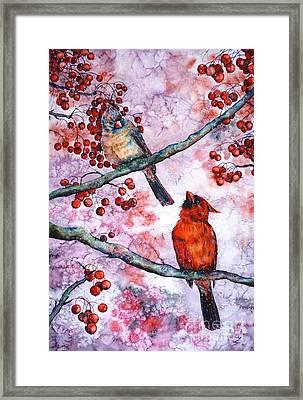 Cardinals  Framed Print by Zaira Dzhaubaeva