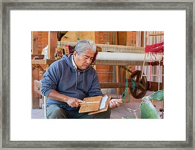 Carding Wool Framed Print by Jim West