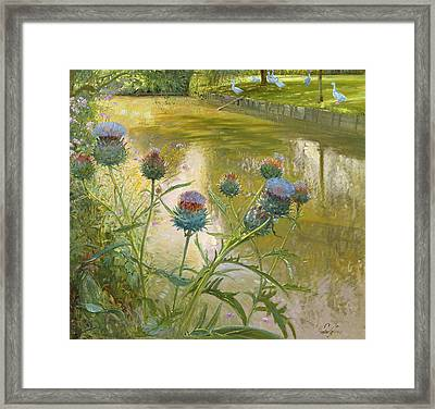 Cardoons Against The Moat  Framed Print by Timothy Easton