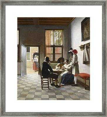 Cardplayers In A Sunlit Room Framed Print by Pieter de Hooch