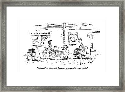 Career Counseling Office. A Student Talks Framed Print