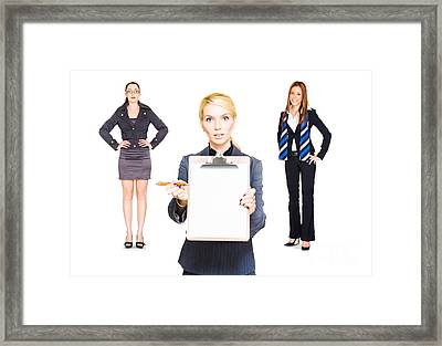 Career Recruitment Business Woman With Job Offer  Framed Print