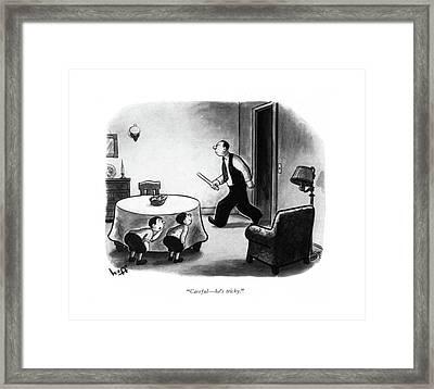 Careful - He's Tricky Framed Print by Sydney Hoff
