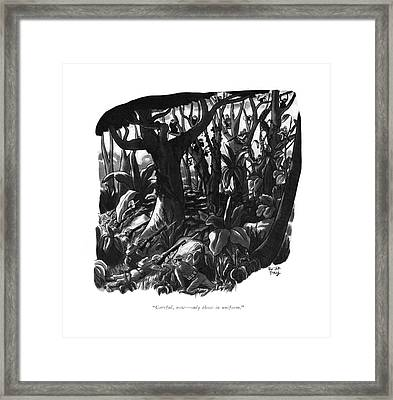 Careful, Now - Only Those In Uniform Framed Print by Robert J. Day