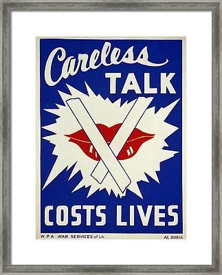 Careless Talk Costs Lives Framed Print by Bill Cannon
