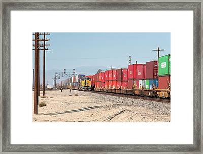Cargo Container Trains Framed Print