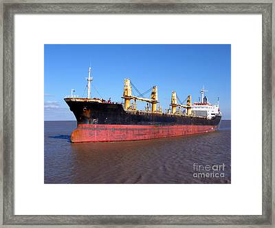 Cargo Ship Framed Print by Olivier Le Queinec