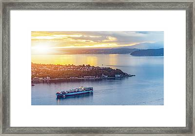 Cargo Ship Through Puget Sound In Sunset Framed Print by Onest Mistic