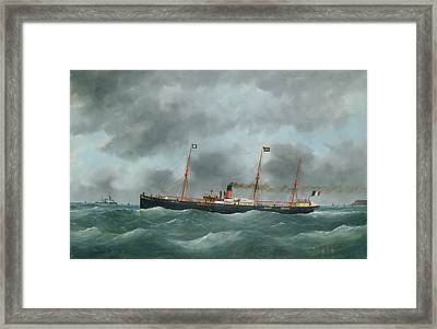 Cargo Steamship Flying The Flag Of The Le Havre Peninsular Company  Framed Print by French School