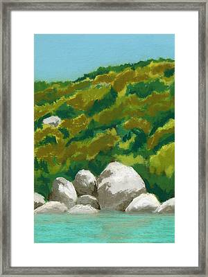 Caribbean Anchorage Framed Print by Diane Cutter