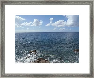 Caribbean Sea On The Rocks Framed Print by Senske Art