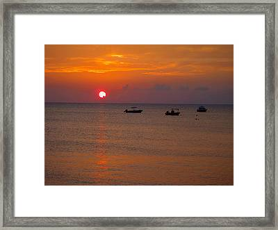 Caribbean Sunset Framed Print by Carey Chen