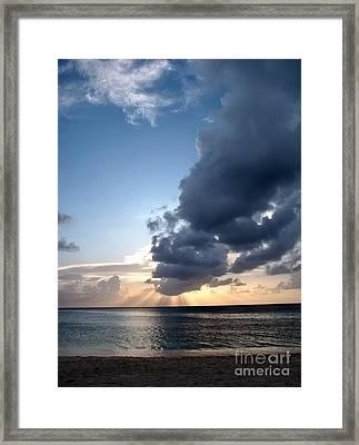 Caribbean Sunset Framed Print by Peggy Hughes
