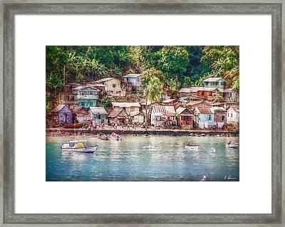 Caribbean Village Framed Print by Hanny Heim
