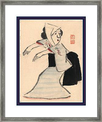 Caricature Of A Woman Dancing, Ki Between 1755 And 1810 Framed Print by Japanese School