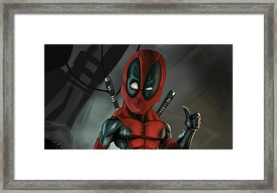 Caricature Of Deadpool Framed Print by Nathan Craig Cruz